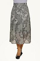 Женская осенняя шифоновая серая деловая нарядная большого размера юбка Klever 398-6 52р.