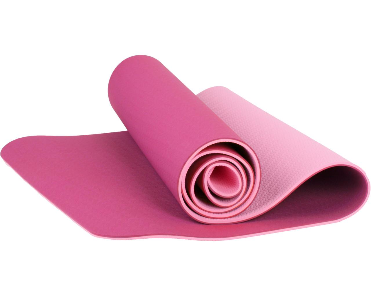 Коврик для йоги и фитнеса розовый