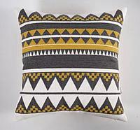 Подушка декоративная 45*45, треугольники желто-серые
