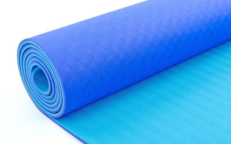 Коврик для йоги светло-синий