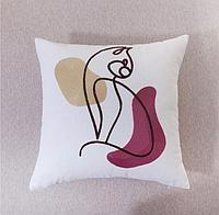 Подушка декоративная 45*45, абстракция кошка