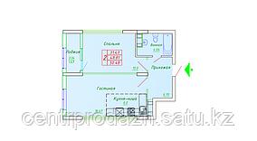 2 комнатная квартира в ЖК София 50.48 м²