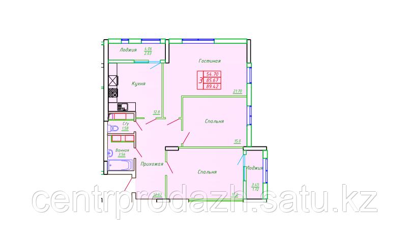 3 комнатная квартира в ЖК София 89.42 м²