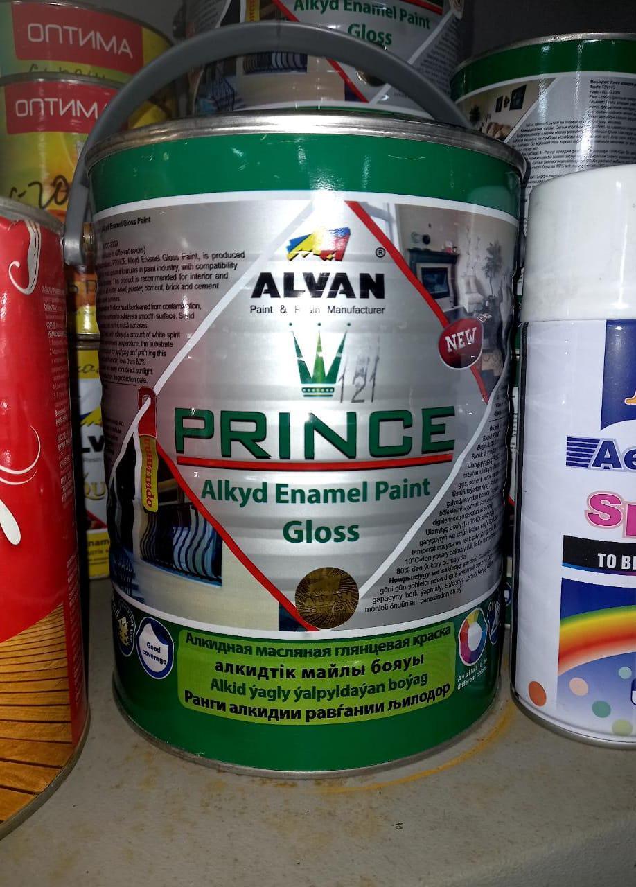 """Краска алкидная глянцевая """"Prince"""" №100 белая 3,5 л/ ALVAN"""