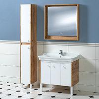 Комплект Тумба с умывальником, зеркалом и пеналом для ванной «Акваль Ирис» 85 см. (Умывальник Модерн 850)