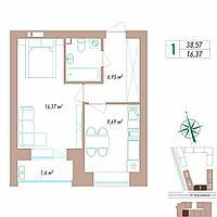 1 комнатная квартира 38.57 м²