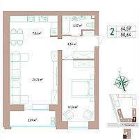 2 комнатная квартира 64.59 м², фото 1