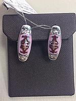 Серьги с розовой эмалью и фианитом /серебро