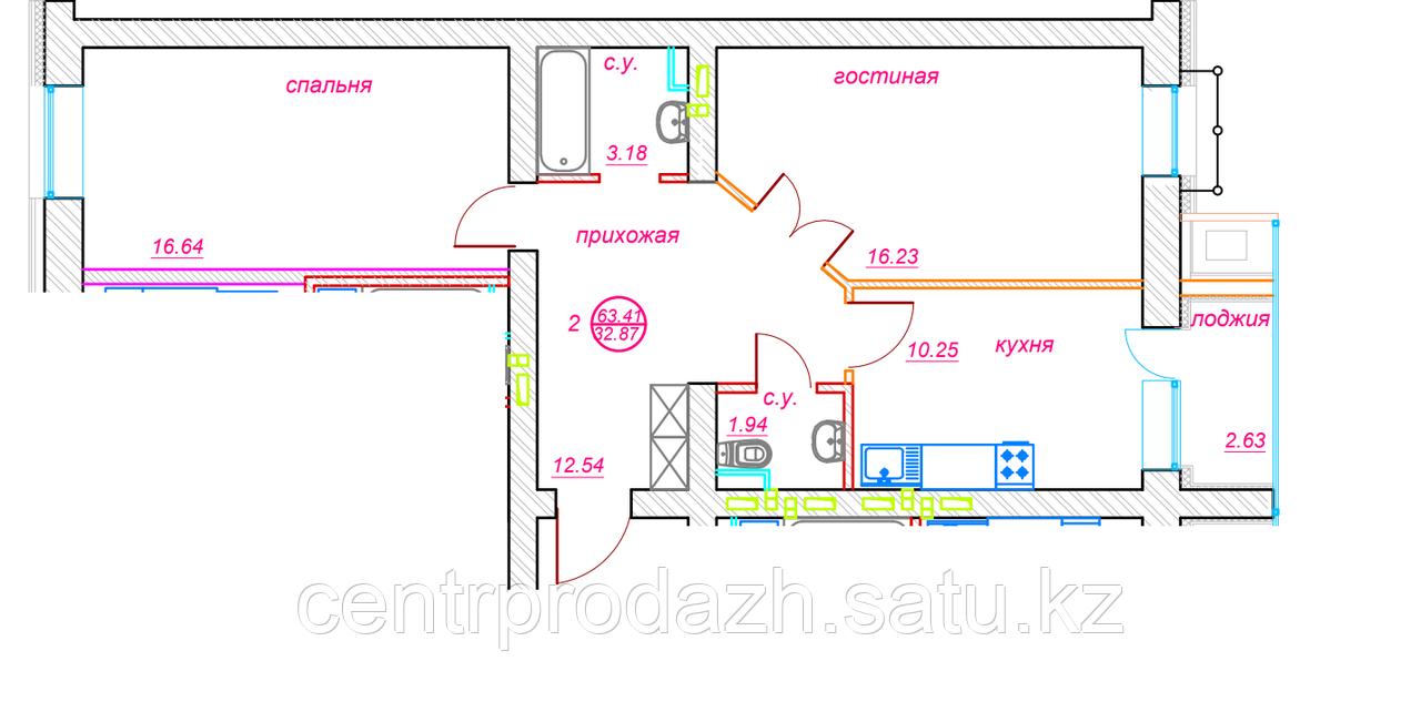 2 комнатная квартира ЖК Viva Grand (Вива Гранд) 63.47 м²