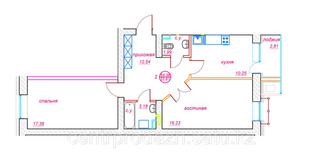 2 комнатная квартира ЖК Viva Grand (Вива Гранд) 64.38 м²