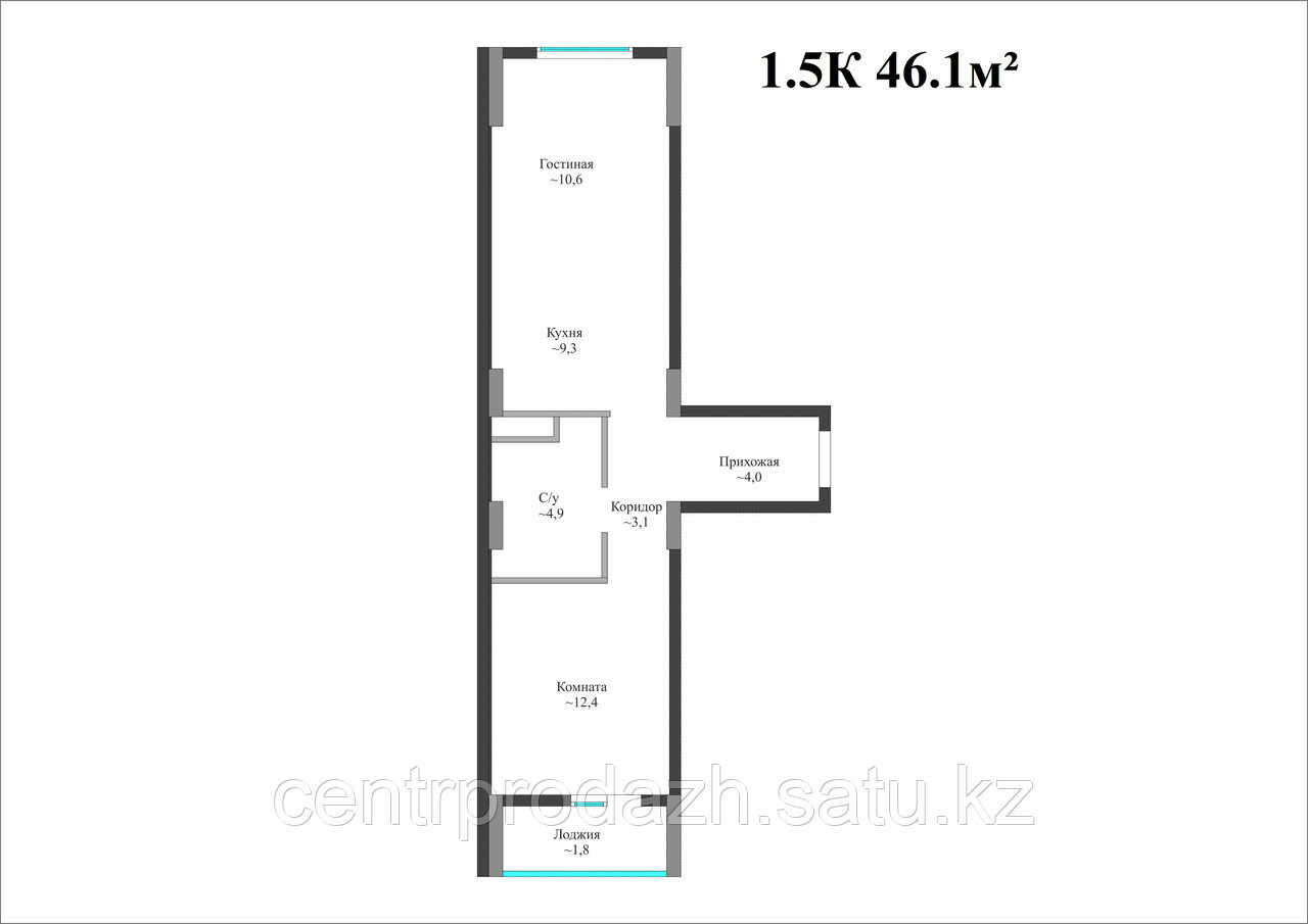 2 комнатная квартира в ЖК Айсафи 46.1 м²