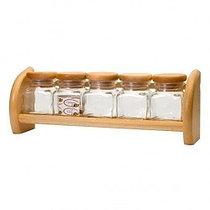 Банки для специй на деревянной полке Practic (5 предметов)