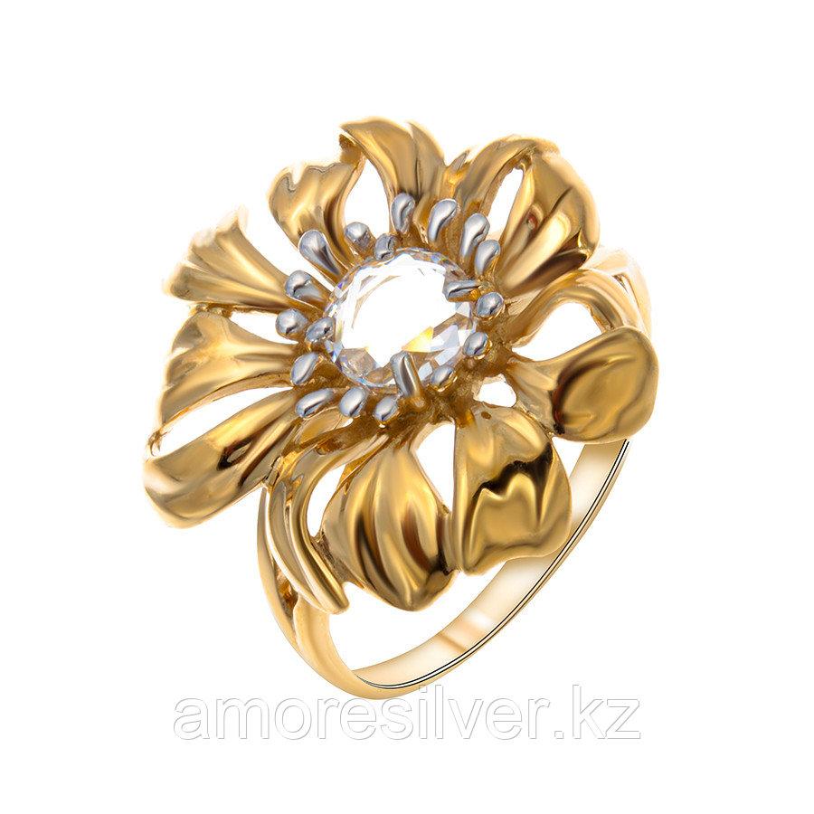 Кольцо Delta серебро с позолотой, фианит, флора с118370пзл