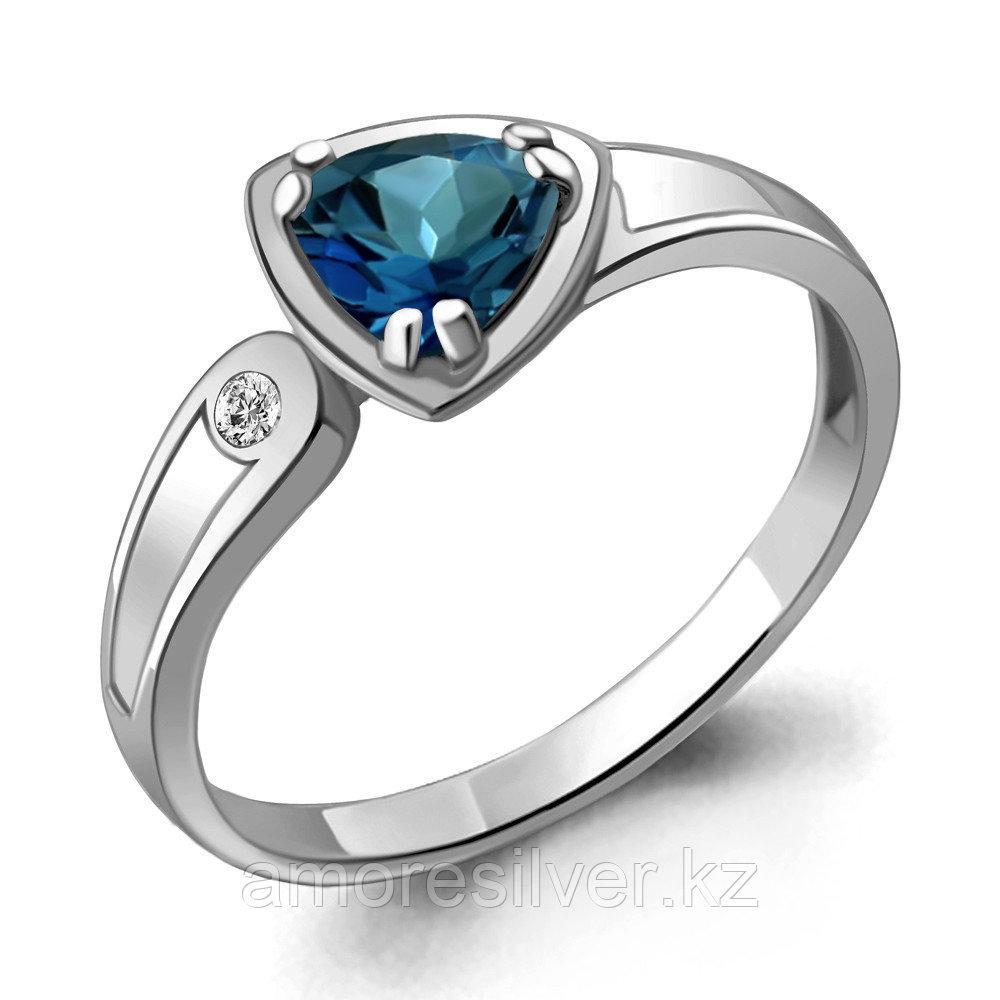 "Кольцо AQUAMARINE серебро с родием, топаз лондон фианит, ""каратник"" 6928208А.5"