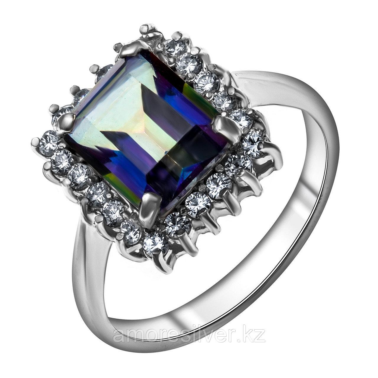 "Кольцо Мир серебра серебро с родием, мистик кварц фианит, ""каратник"" КТ-004мц размеры - 19"