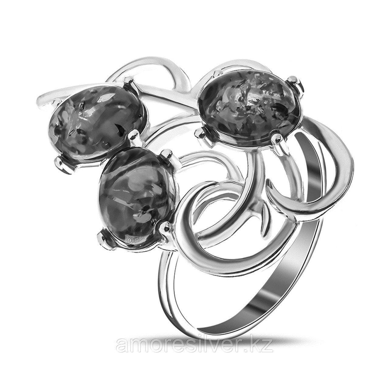 Кольцо Амулет серебро без покрытия, янтарь, флора 1.016