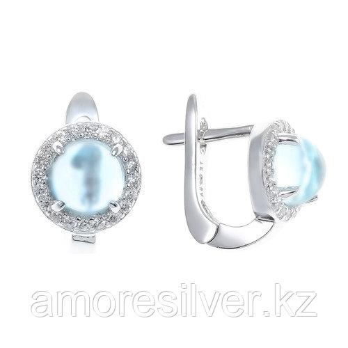 "Серьги TEOSA серебро с родием, топаз фианит, ""halo"" E-1160-T"
