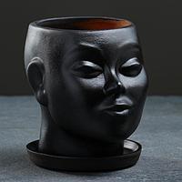 """Кашпо-органайзер """"Голова"""", чёрное, 17х14х15см"""