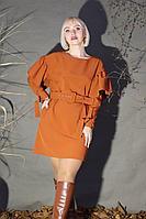 Женское осеннее трикотажное оранжевое нарядное платье Стильная леди М-185 горчица 42р.