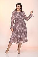 Женское осеннее шифоновое коричневое большого размера платье Lady Style Classic 2204 кофе+мелкий_горох 48р.