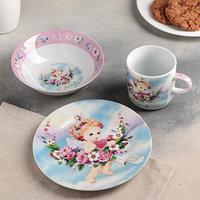 Набор детской посуды Доляна 'Ангелок', 3 предмета кружка 230 мл, миска 400 мл, тарелка 18 см