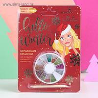 Бульонки для декора ногтей в круглой палетке Hello, winter!
