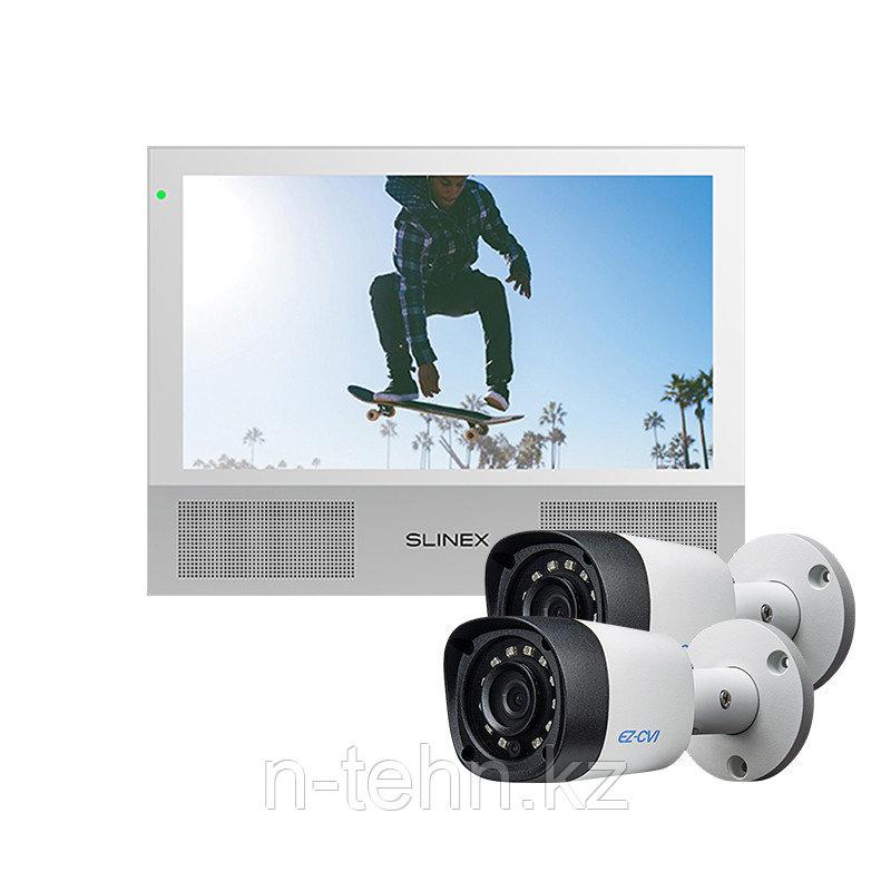 Комплект Slinex Sonik-7 белый + 2 видеокамеры EZCVI HAC-B1A02P