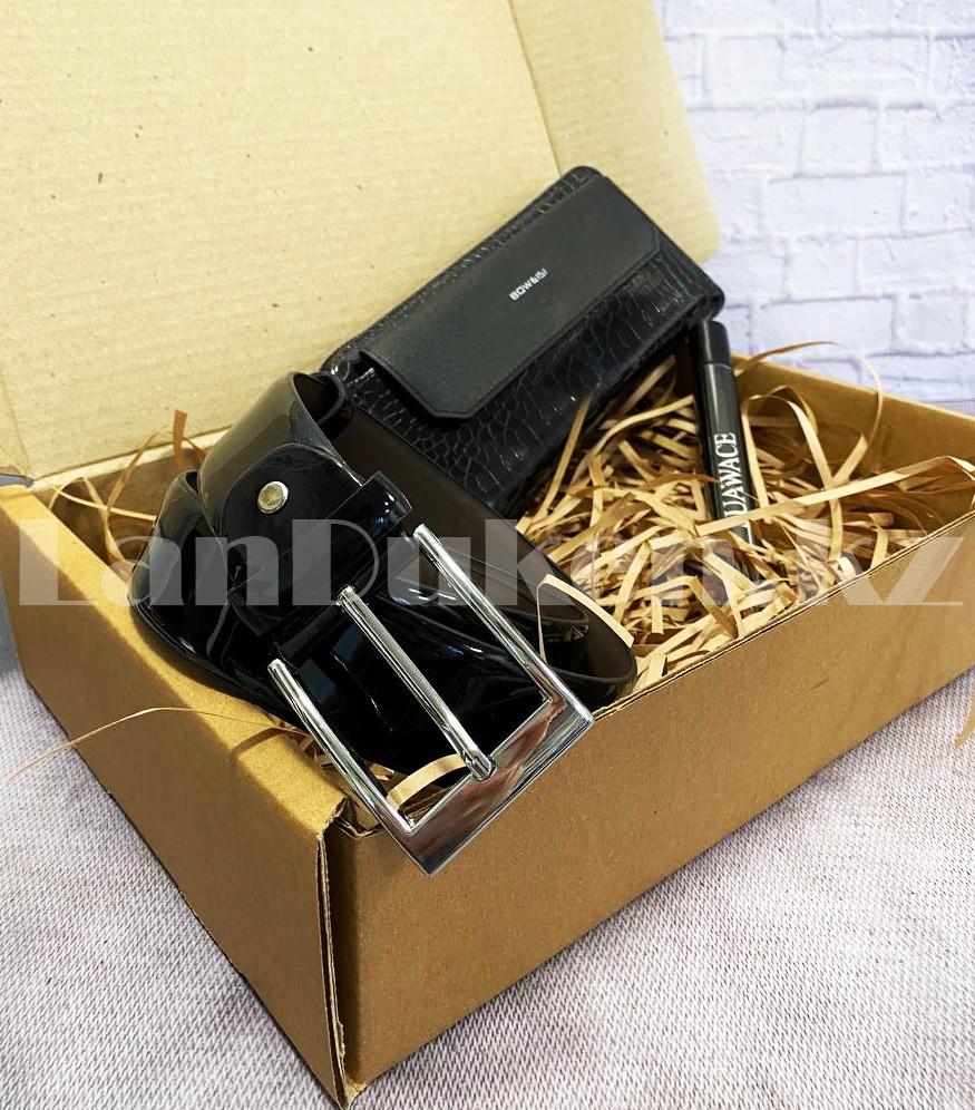 Мужской подарочный набор портмоне ремень туалетная вода Suawage Бокс подарочный для мужчины (черный) - фото 2
