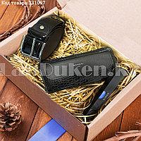 Мужской подарочный набор портмоне ремень туалетная вода Suawage Бокс подарочный для мужчины (черный)
