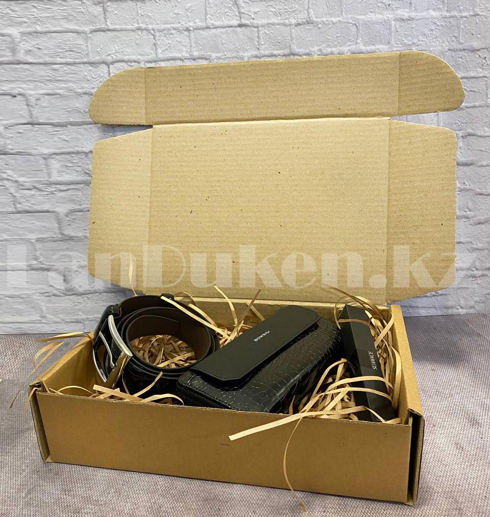 Мужской подарочный набор портмоне ремень туалетная вода Suawage Бокс подарочный для мужчины (черный) - фото 3