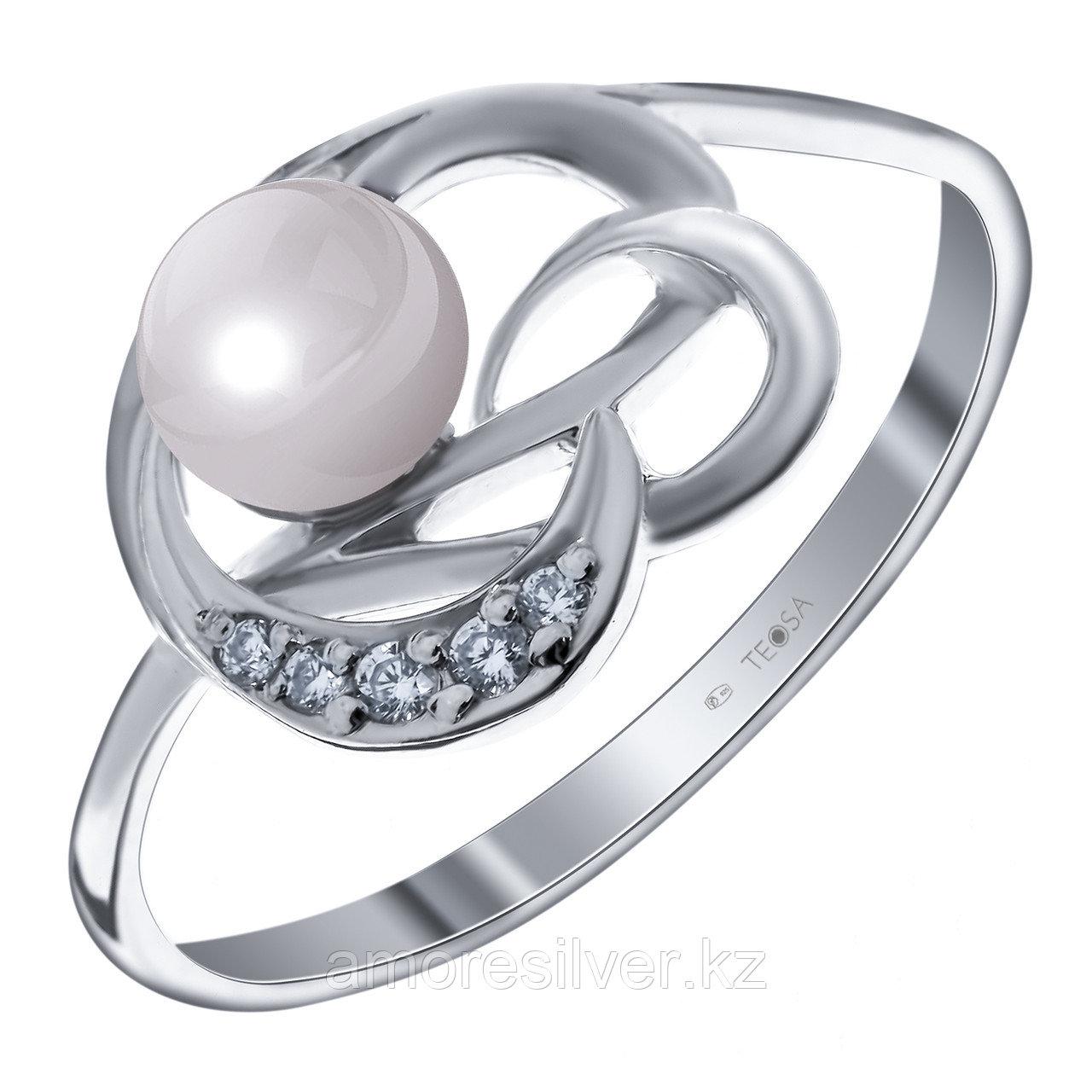 Серебряное кольцо с жемчугом и фианитом TEOSA 190-5-500 размеры - 17