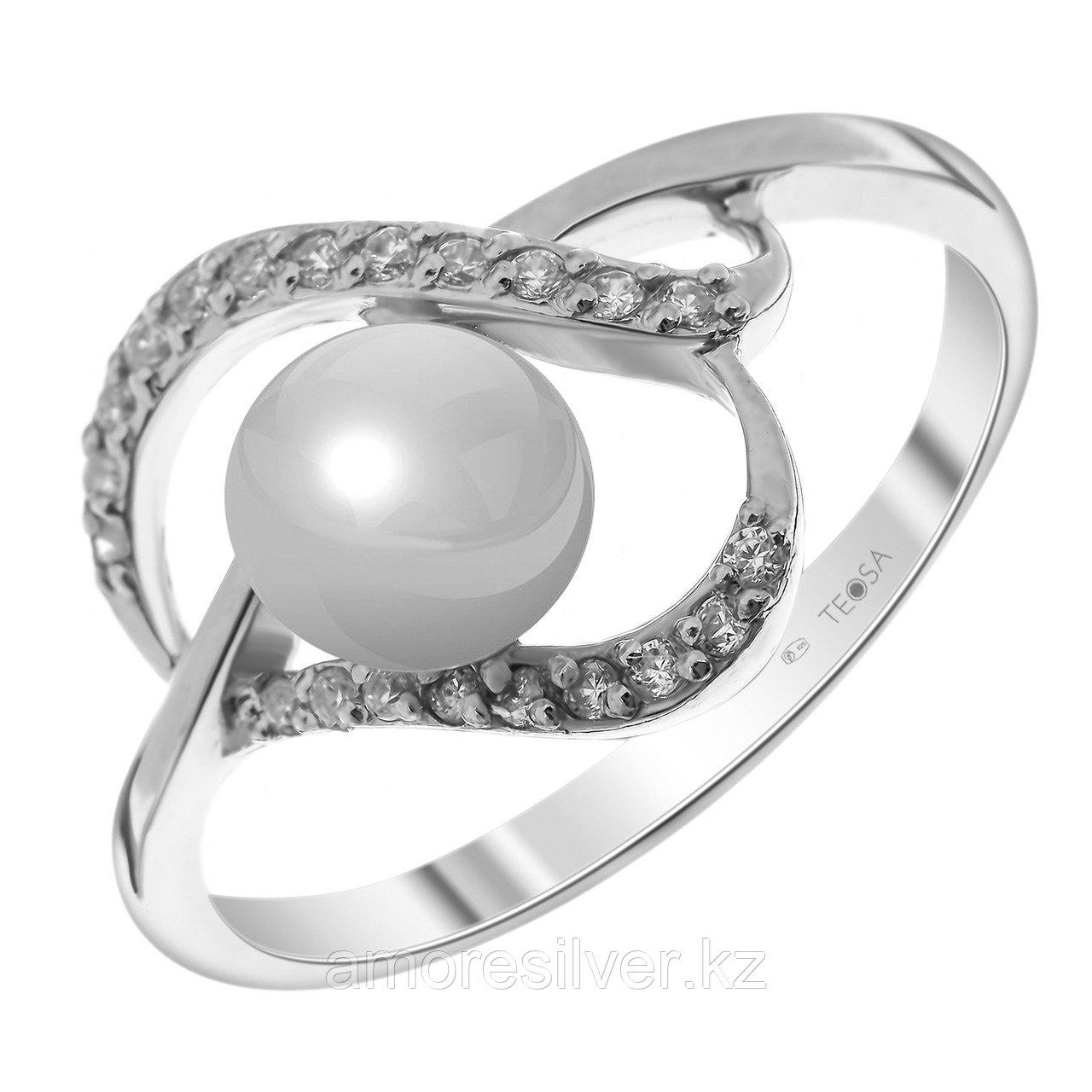 Серебряное кольцо с жемчугом и фианитом TEOSA 190-5-505 размеры - 17