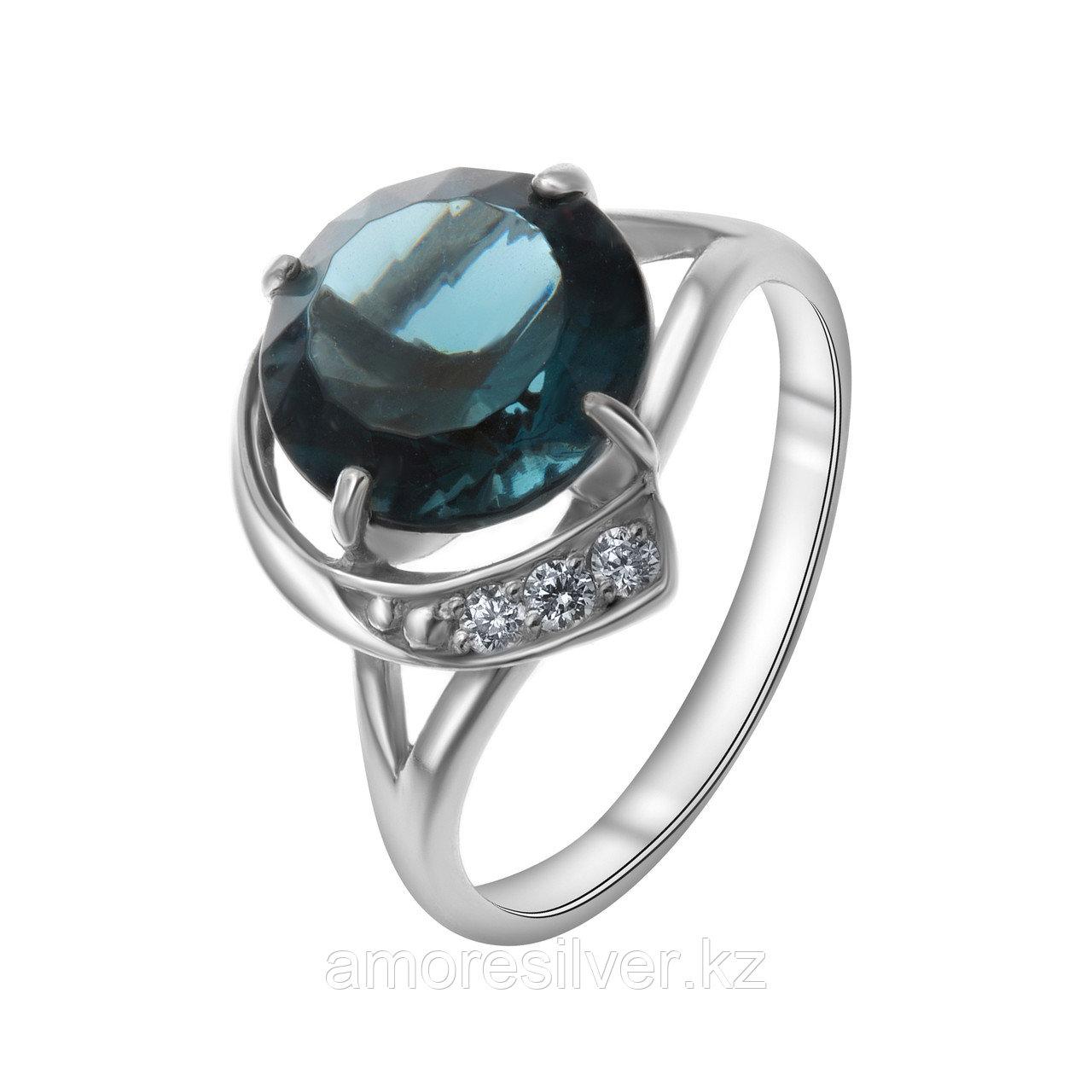 "Кольцо Алмаз-Групп серебро с родием, кварц пл. топаз лондон фианит, ""halo"" 11390045"