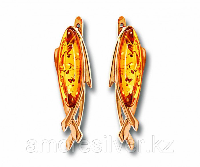 Серьги Балтийское золото серебро с родием, янтарь, овал 82150461