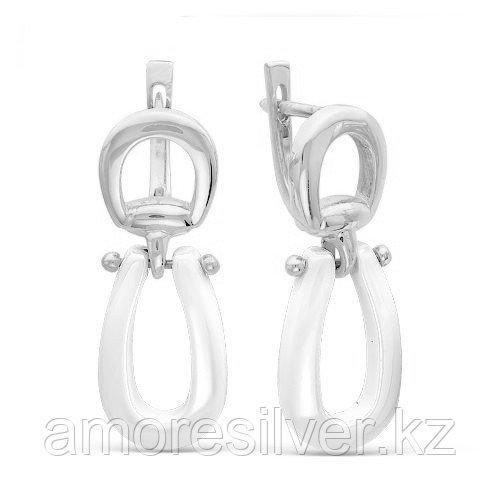 Серьги MASKOM серебро с родием, керамика, модное CRM-011