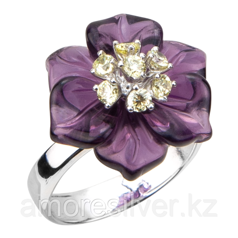 Кольцо  серебро с родием, флора Б/А фо