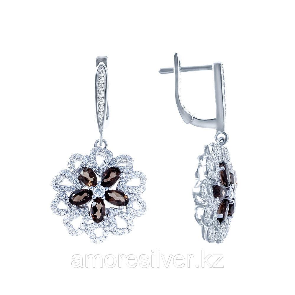 Серьги TEOSA серебро с родием, раухтопаз фианит, флора E-DRGR00500-SQ