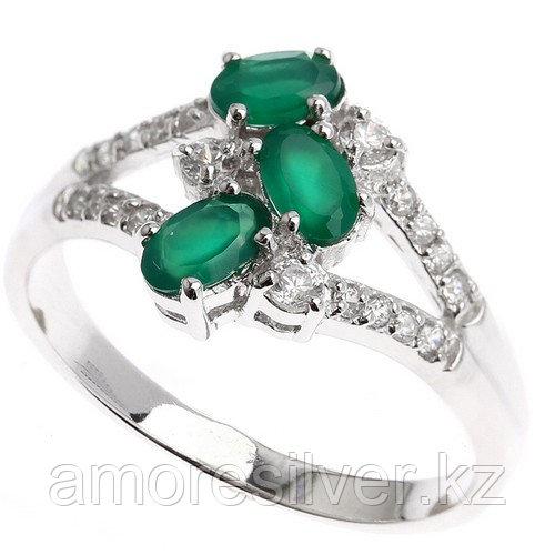 "Кольцо ЮК ""Серебро"" серебро с родием, агат зеленый фианит, многокаменка KR120118-AG"