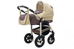 Коляска детская 2 в 1 Bari BartPlast 03. Цвет коричневый-бежевый от 0 до года, 4 надувных колеса