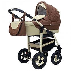 Коляска детская 2 в 1 Bari BartPlast 04. Цвет бежевый-коричневый от 0 до года, 4 надувных колеса
