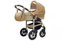 Коляска детская 2 в 1 Bari BartPlast 07. Цвет бежевый от 0 до года. 4 надувных колеса