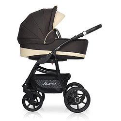 Коляска детская 2 в 1 Riko Alfa Ecco BASIC 08. Цвет коричневый-бежевый