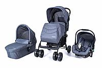 Детская коляска 3 в 1 Tomix City, Цвет Серый. Люлька, прогулочный блок, автокресло.