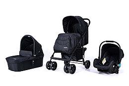 Детская коляска 3 в 1 Tomix City, Цвет Чёрный. Люлька, прогулочный блок, автокресло.
