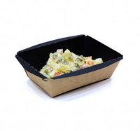 Контейнер бумажный пищевой с крышкой Crystal Box 400 мл, чёрный