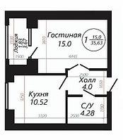 """1 ком в ЖК """"SATI CLUB HOUSE"""" 35.63 м²"""