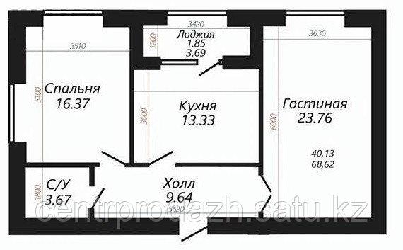"""2 ком в ЖК """"SATI CLUB HOUSE"""" 68.62 м²"""