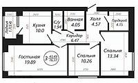 """3 ком в ЖК """"SATI CLUB HOUSE"""" 76.37 м²"""