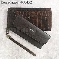 Портмоне со съемной визитницей кошелек кожаный темно-коричневый 341