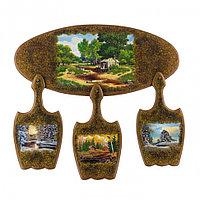 """Кухонный набор """"Времена года"""" с рисунком из каменной крошки 59,5х56 см"""